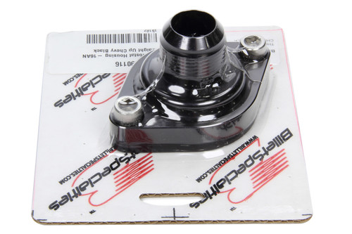 Thermostat Housing -16AN Straight Up Chevy Black