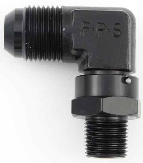 #10 x 3/8 MPT 90 Deg Swivel Adapter Black