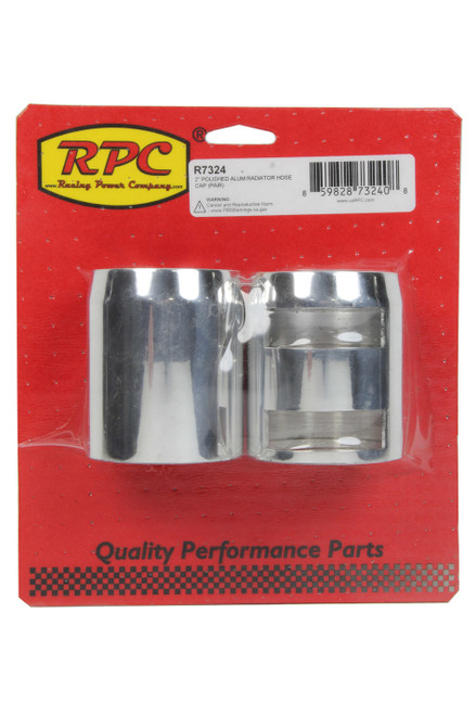 2In Polished Aluminum Radiator Hose Cap Pair