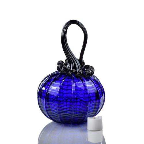 Blue Moon - Webbed Round Pumpkin with Tealight