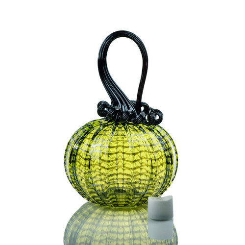 Enchanted Chartreuse - Webbed Round Pumpkin with Tealight