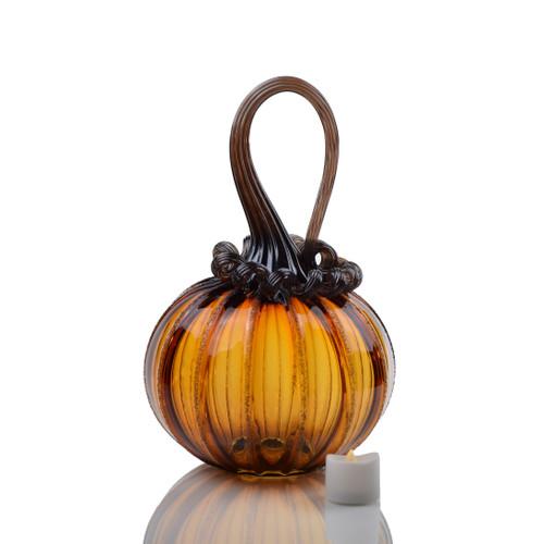 Amber Magic - Signature Round Pumpkin with Tealight