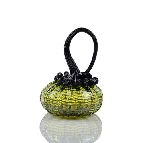 Enchanted Chartreuse - Webbed Squatty Pumpkin with Tealight