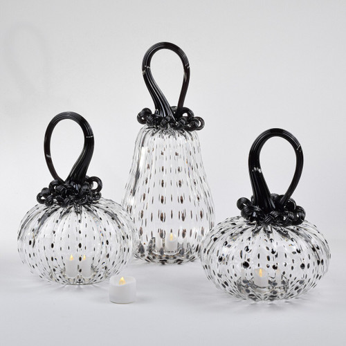 Black Spotted Pumpkin Set with Tealight