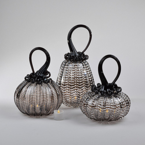 Opalescent Web Pumpkin Set with Tealight