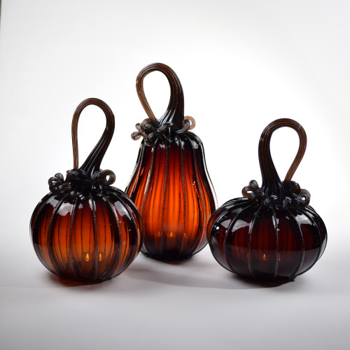 Golden Garnet Pumpkin Set With Tealight