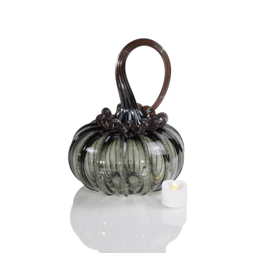 Raven Feather Squatty Pumpkin with Tealight