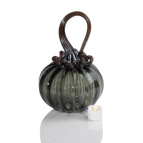 Raven Feather Round Pumpkin with Tealight