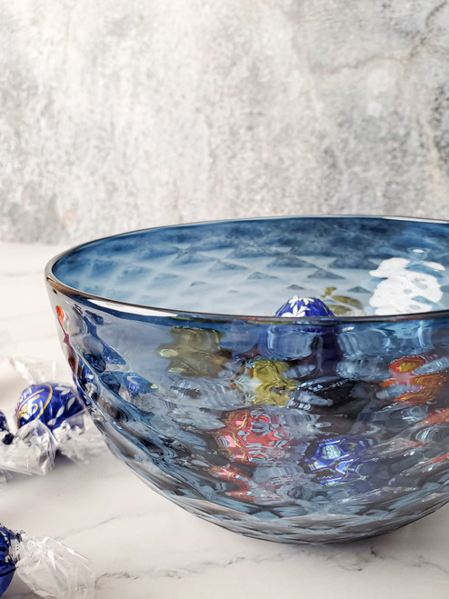 Slate Blue Diamond Cut Bowl