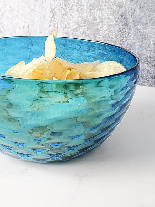 Aqua Diamond Cut Bowl