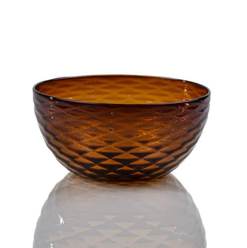 Amber Diamond Cut Bowl