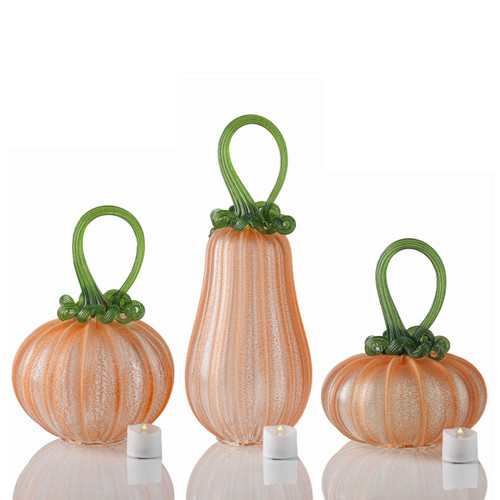 OG Pumpkin -- Velvet Glass Set with Tealights