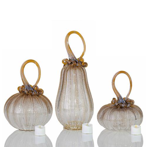 Amber Magic -- Velvet Glass Set with Tealights