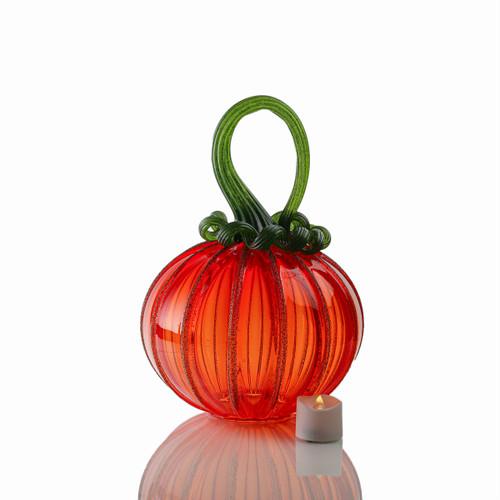 Bright Harvest - Signature Round Pumpkin with Tealight