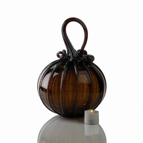 Glittering Gourds - Signature Round Pumpkin with Tealight