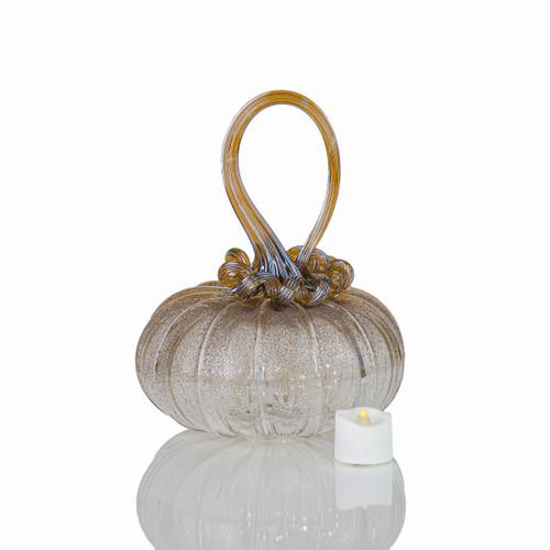 Amber Magic - Velvet Glass Squatty Pumpkin with Tealight