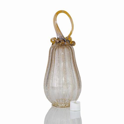 Amber Magic - Velvet Glass Gourd Pumpkin with Tealight