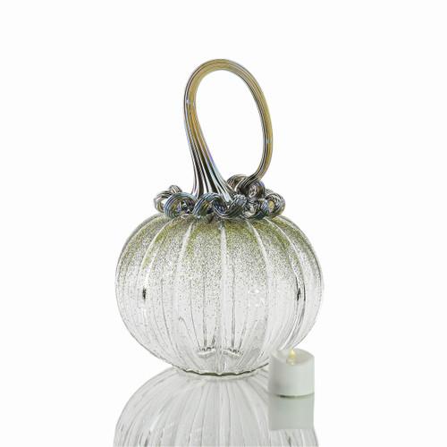 Bewitched Botanicals - Velvet Glass Round Pumpkin with Tealight