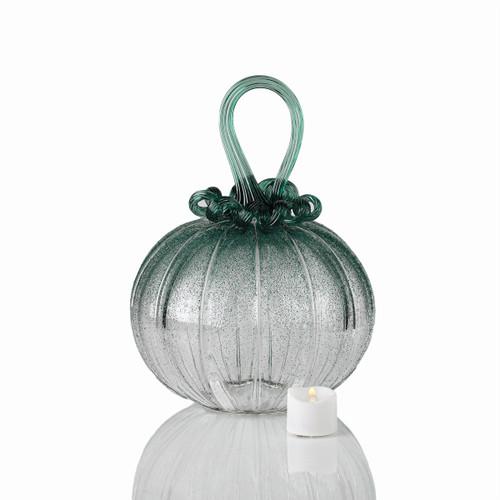 Deep Forest Fog - Velvet Glass Round Pumpkin with Tealight