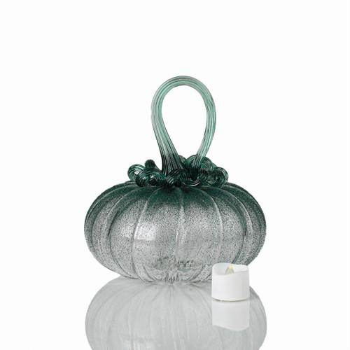 Deep Forest Fog - Velvet Glass Squatty Pumpkin with Tealight
