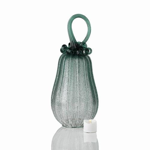 Deep Forest Fog - Velvet Glass Gourd Pumpkin with Tealight