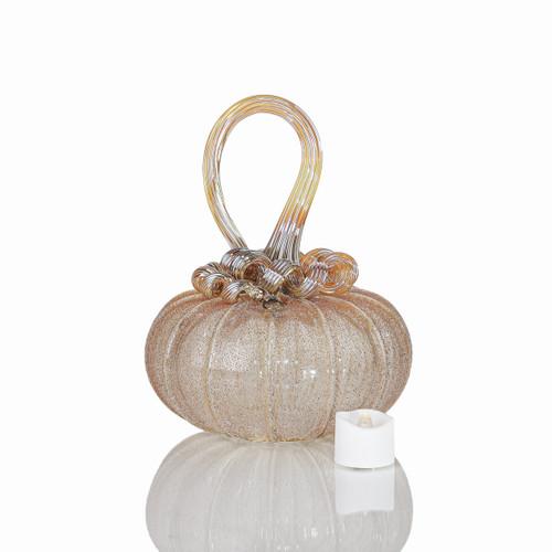Golden Heroine - Velvet Glass Squatty Pumpkin with Tealight