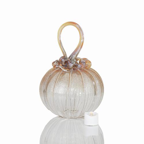 Golden Heroine - Velvet Glass Round Pumpkin with Tealight