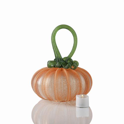 OG Pumpkin - Velvet Glass Squatty Pumpkin with Tealight