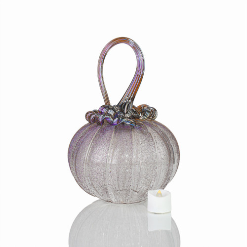Dream Come True - Velvet Glass Round Pumpkin with Tealight
