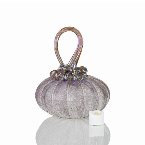 Dream Come True - Velvet Glass Squatty Pumpkin with Tealight