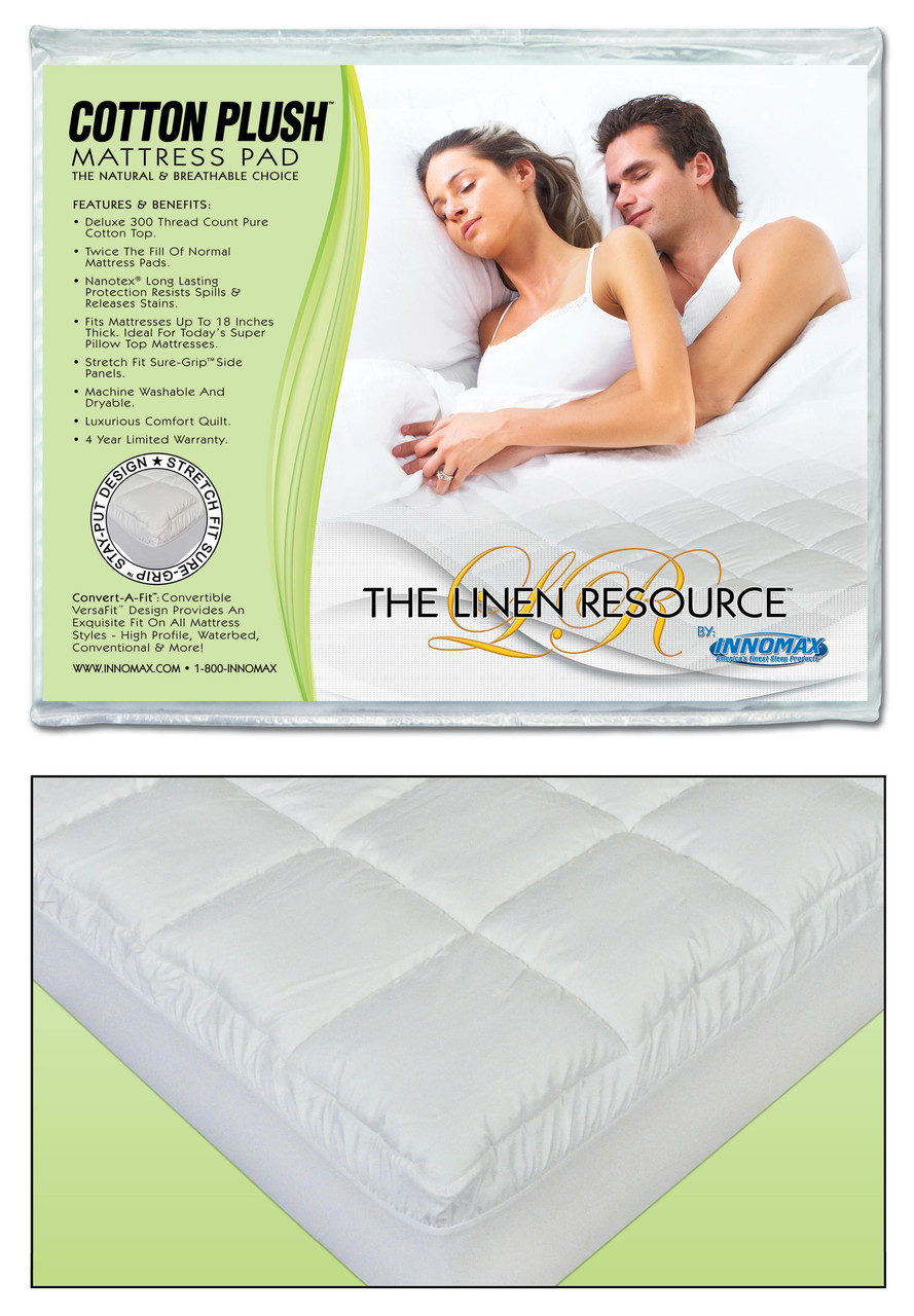 Innomax Cotton Plush Natural And Breathable Mattress Pad