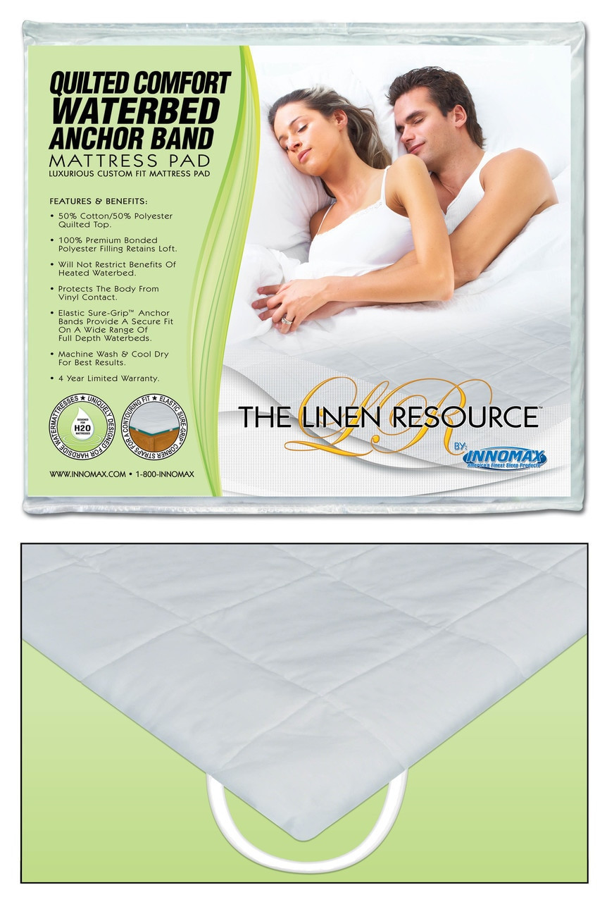Quilted Comfort Waterbed Anchor Band Custom Fit Mattress Pad