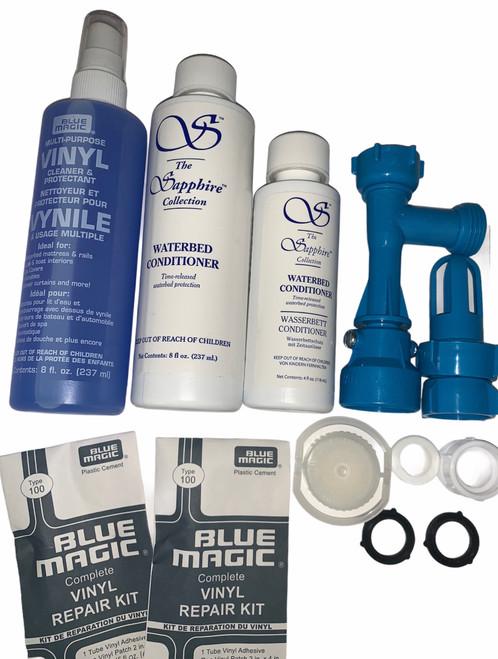 Waterbed Accessories Bundle includes Waterbed Conditoiner Fill-Drain Kit Pull Cap and Seal Repair Kits