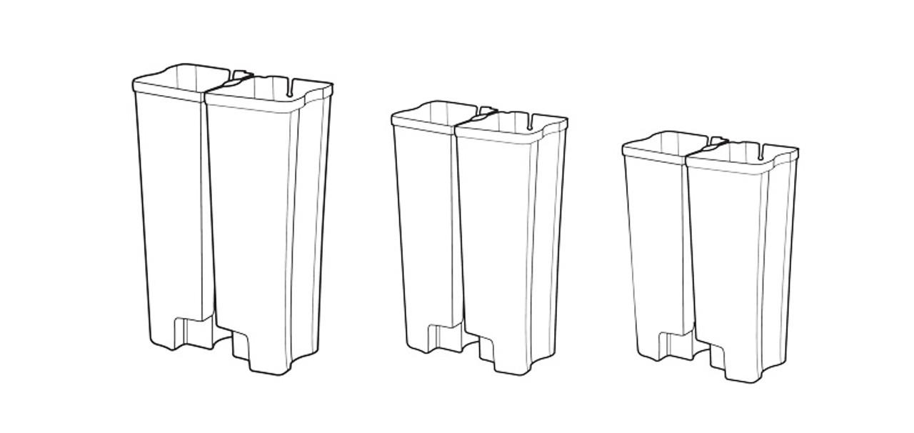 Rubbermaid Dual Liner Set For Slim Jim 90L Metal End Step - 1902011