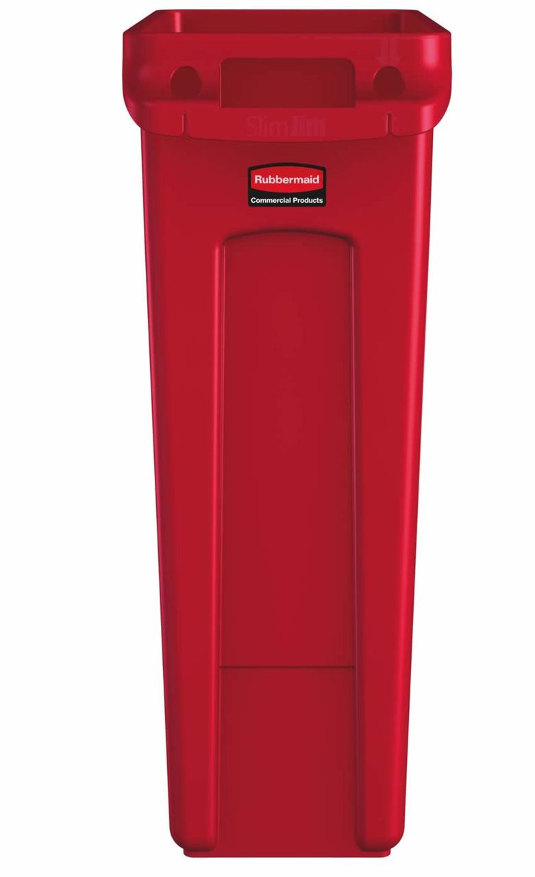 Rubbermaid Slim Jim With Venting Channels 87L - Red - 1956189
