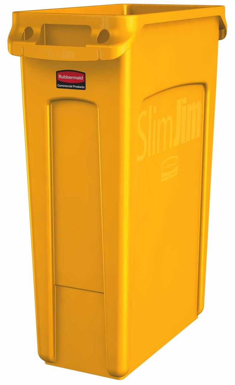 Rubbermaid Slim Jim With Venting Channels 87 L - Yellow - 1956188