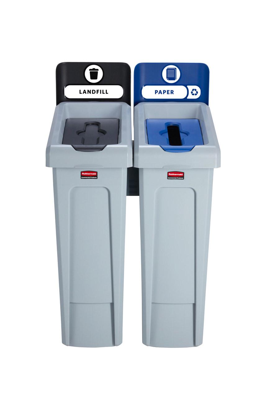 Rubbermaid Slim Jim Recycling Station Bundle 2 Stream - Landfill (black)/ Paper (blue)