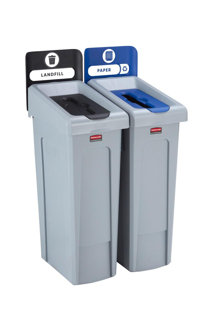 Rubbermaid Slim Jim Recycling Station Bundle 2 Stream - Landfill (black)/ Paper (blue) - 2057605