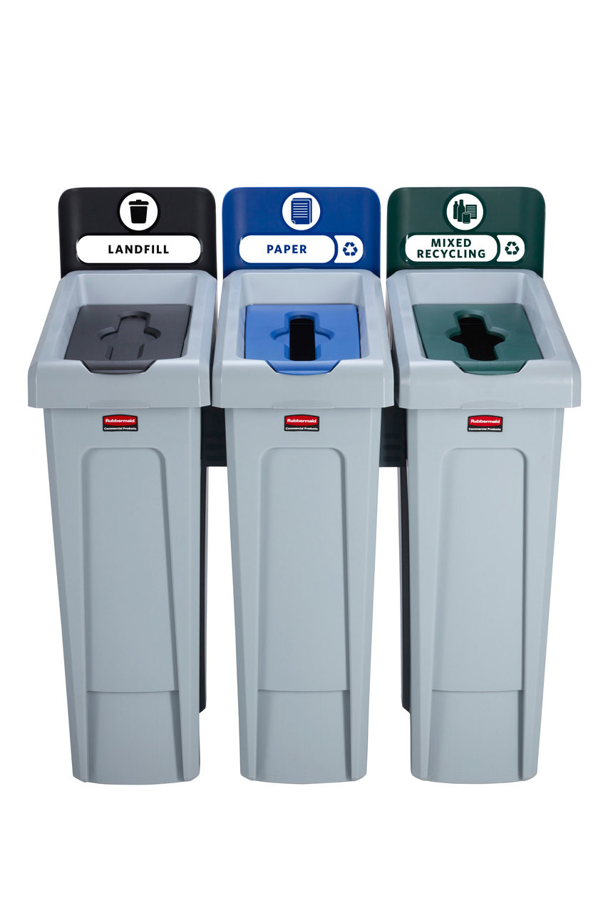 Rubbermaid Slim Jim Recycling Station Bundle 3 Stream - Landfill (black)/ Paper (blue)/ Mixed Recycling (green) - 2057606