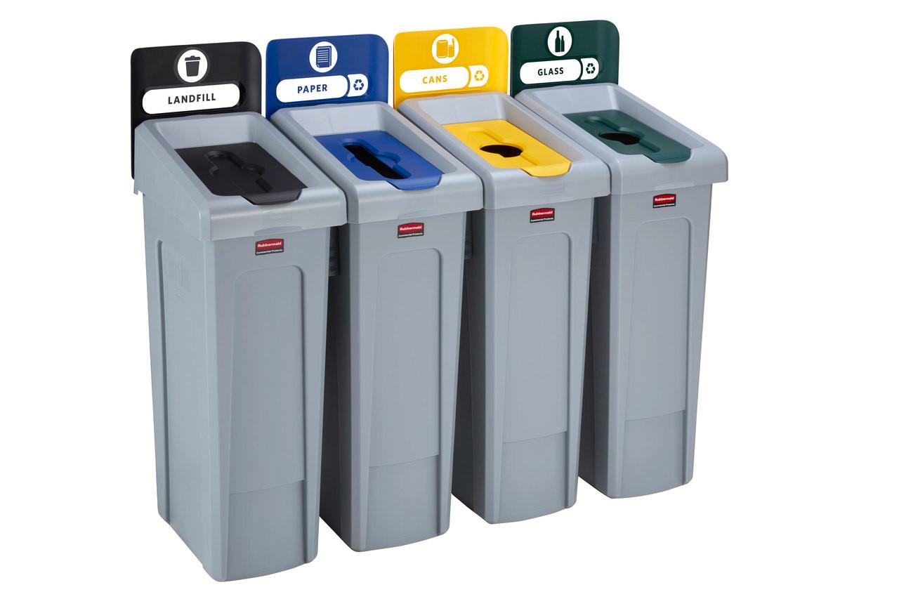 Rubbermaid Slim Jim Recycling Station Bundle 4 Stream - Landfill (black)/ Paper (blue)/ Plastic (yellow)/ Glass (green) - 2057609