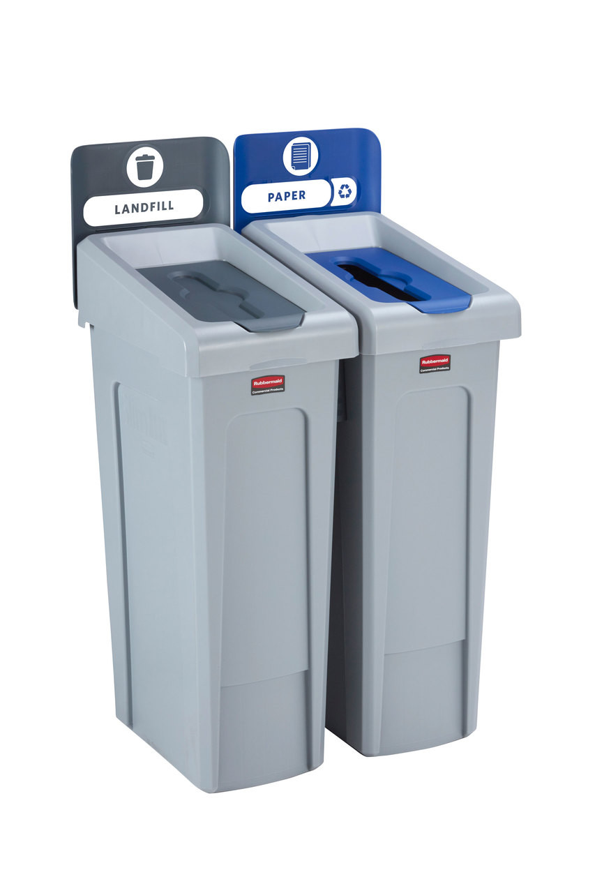 Rubbermaid Slim Jim Recycling Station Bundle 2 Stream - Landfill (grey)/ Paper (blue) - 2057610