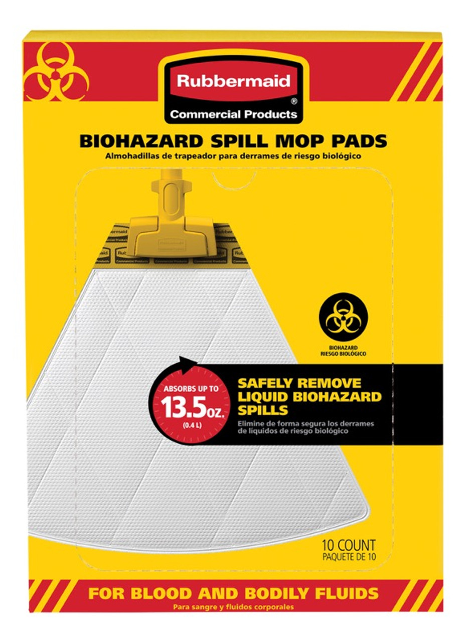 White 10//Carton 2017060 Rubbermaid Commercial Biohazard Spill Mop Pads