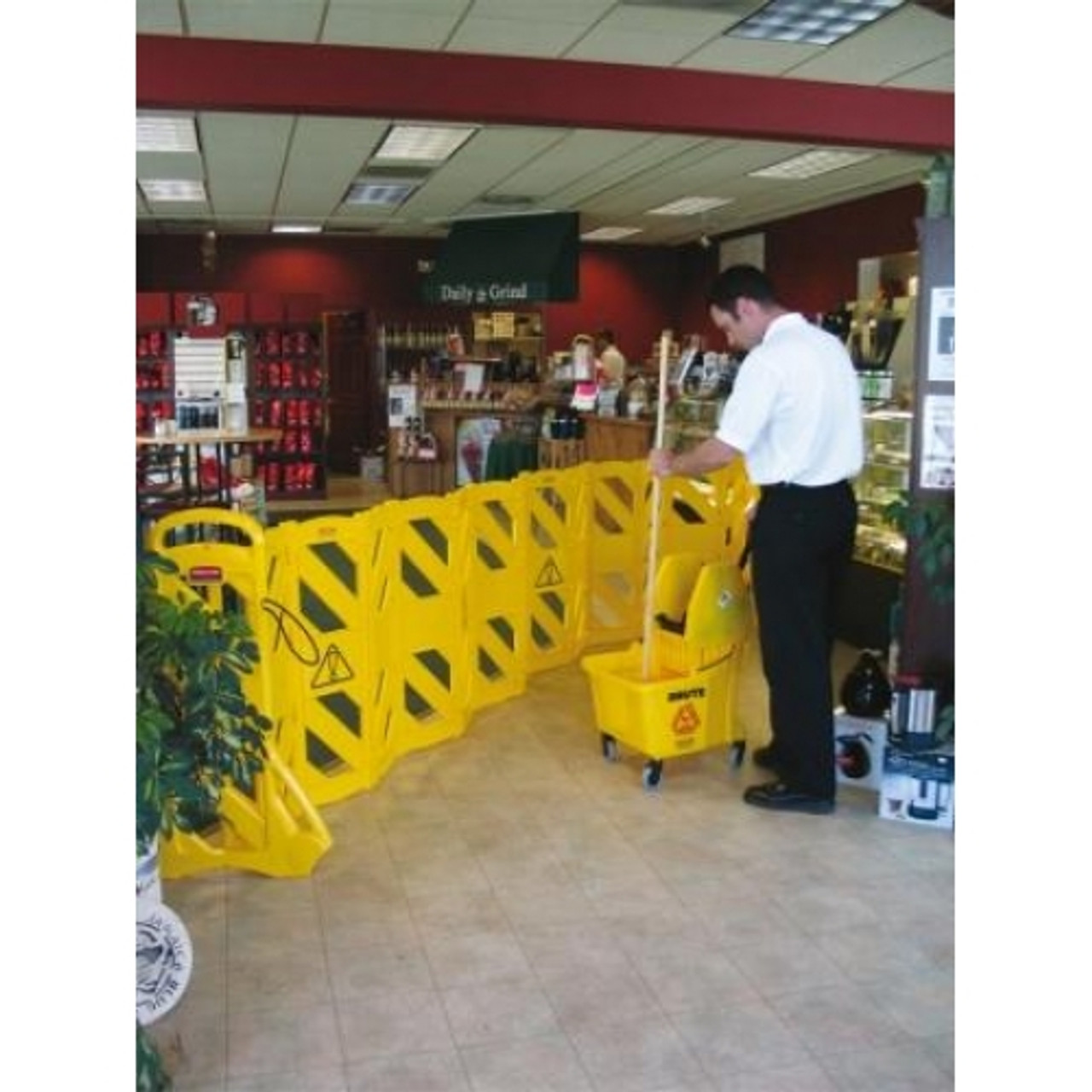 Rubbermaid Portable Mobile Barrier - FG9S1100YEL