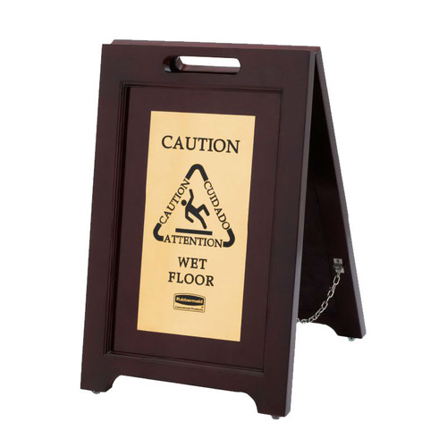 Rubbermaid Wood Safety Sign Brass Plate - Gold