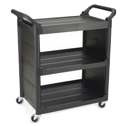 Rubbermaid Utility Cart Closed 2 Sides - Black