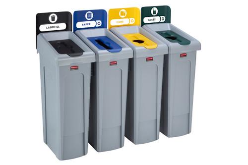 Rubbermaid Slim Jim Recycling Station Bundle 4 Stream - Landfill (black)/ Paper (blue)/ Plastic (yellow)/ Glass (green)