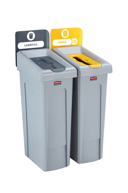 Rubbermaid Slim Jim Recycling Station Bundle 2 Stream - Landfill (grey)/ Paper (yellow)