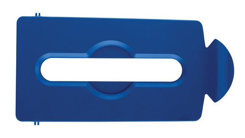 Rubbermaid Slim Jim Recycling Station Stream Topper - Blue Paper Slot Lid
