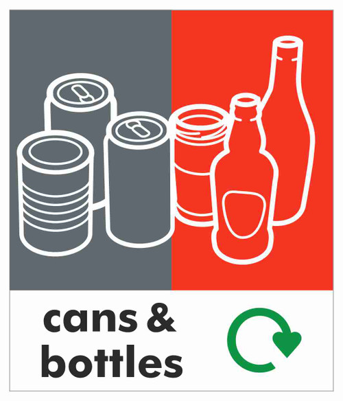 Small Waste Stream Sticker - Cans & Bottles