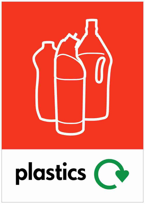 Large A4 Waste Stream Sticker - Plastic Bottles